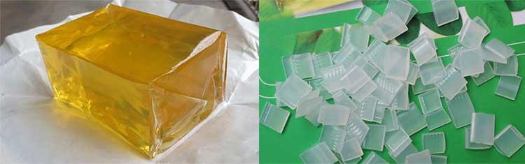热熔胶块与热熔胶粒的对比